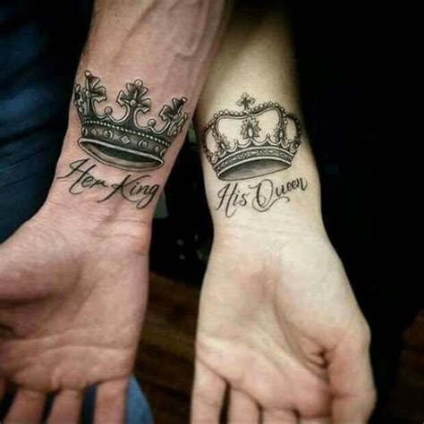 tattoo his queen her king 50 king and queen tattoos for couples herinterest com