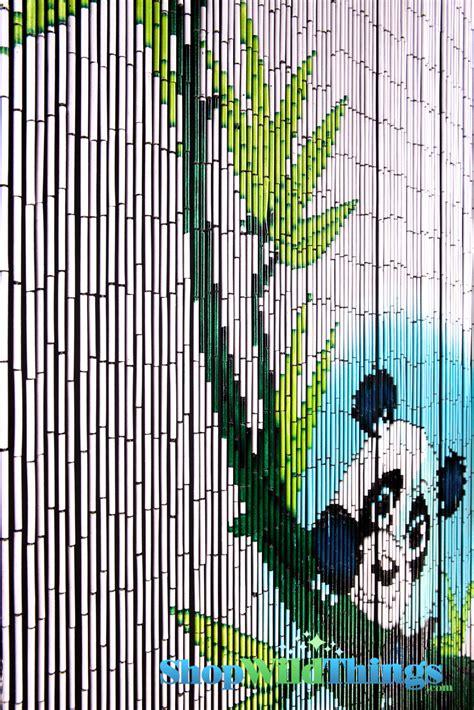 Painted Bamboo Curtains Panda Curtains Panda Hanging From Bamboo Painted Beaded Curtain