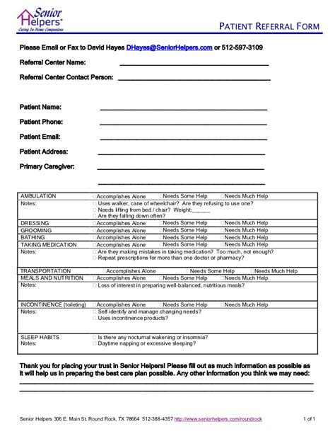 client referral form template senior helpers client referral form
