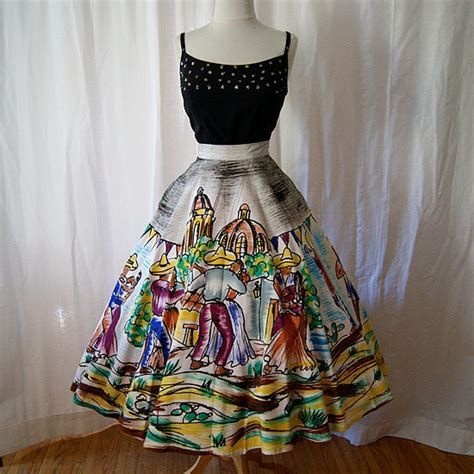 mexican swing dance festive 1950s hand painted mexican circle skirt rockabilly