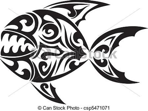 vector clip art of tribal fish vector tattoo csp5471071