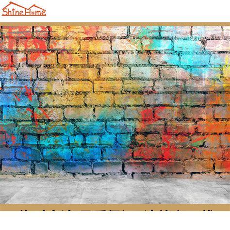 graffiti wallpaper rolls buy shinehome retro color painting on brick graffiti 3d