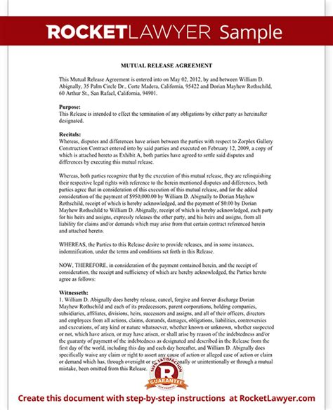 Agreement Release Letter Release Agreement Form Release And Settlement Agreement