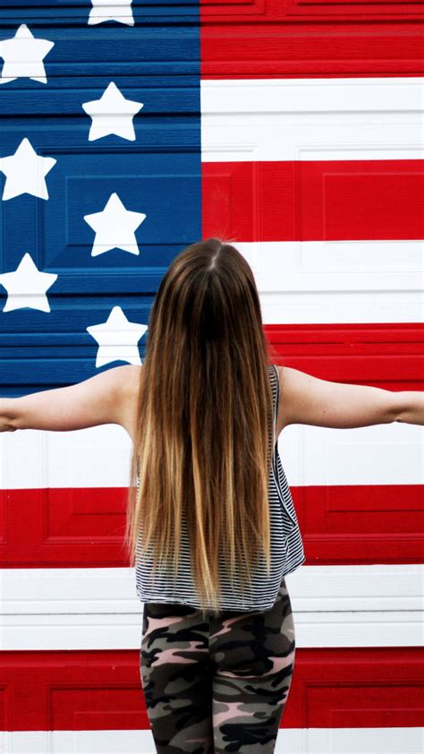 apple usa wallpaper american girl in front of usa flag wallpaper background