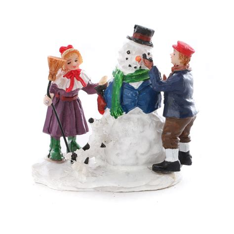 miniature build a snowman christmas figurine table decor