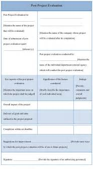 project evaluation template evaluation template for post project exle of post