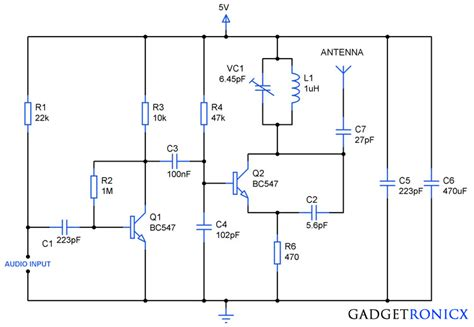simple 1 transistor fm transmitter fm transmitter circuit using transistors gadgetronicx