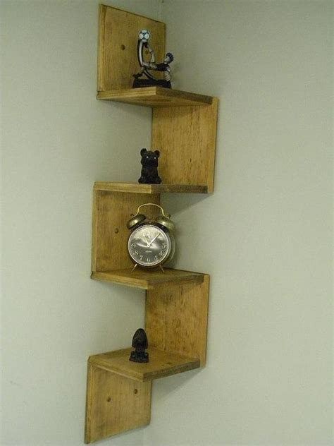 wall mounted corner shelf retro walnut stain shelf ideas