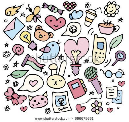 girly doodle wallpaper back school set anime doodle characters stock vector