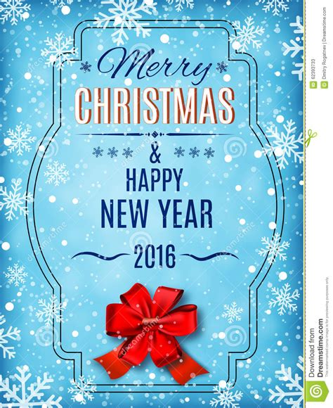 merry christmas  happy  year text  winter background stock vector image