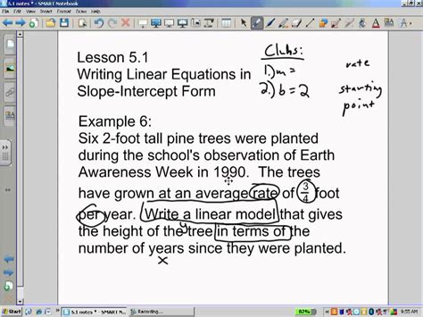 slope words slope intercept word problems youtube
