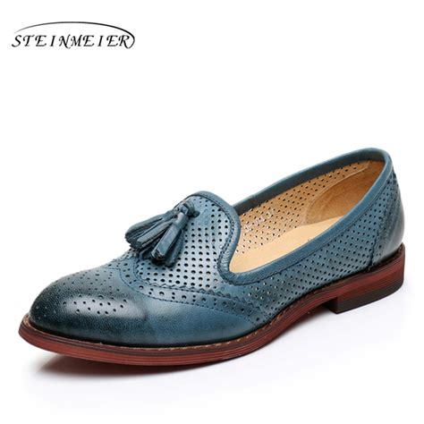 Handmade Shoesdark Blue Oxford Shoes - genuine leather size 9 designer yinzo vintage flat