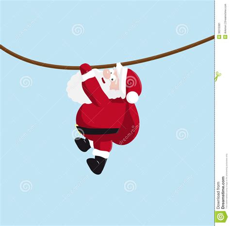 santa hanging on the rope stock vector image of gift