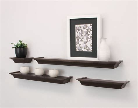 home decorative home decor floating wall shelves 4pc brown ledge shelving
