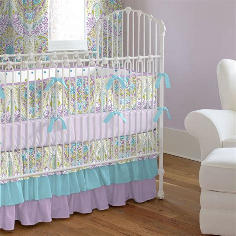 Aqua And Purple Jasmine 2 Piece Crib Bedding Set Crib Bedding Sets