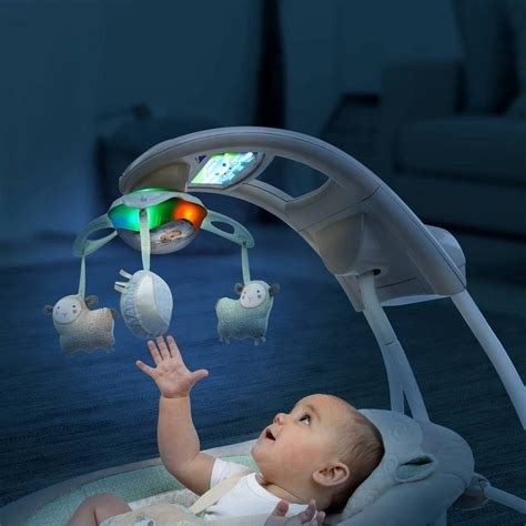 baby swing with lights and music baby infant ingenuity inlighten cradle swing with night