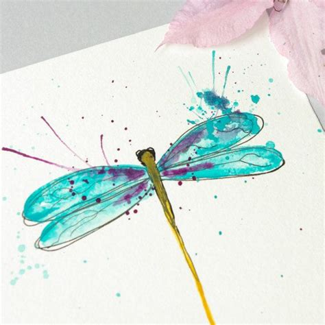 watercolor tattoo dragonfly dragonfly original watercolor painting blue and purple