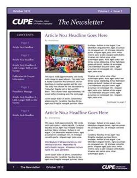 newsletter template for pages newsletter templates canadian union of employees