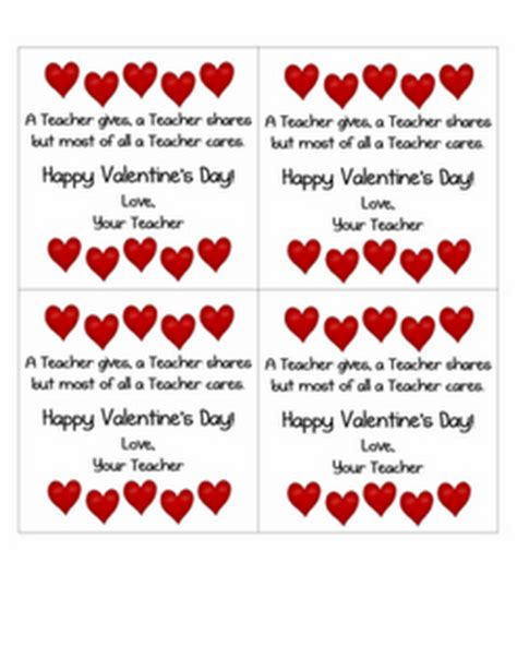 valentines from teachers classroom freebies s day card from the