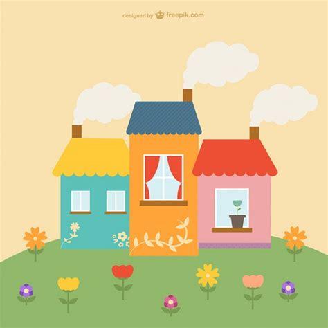 imagenes bonitas vectores casas y flores bonitas descargar vectores gratis