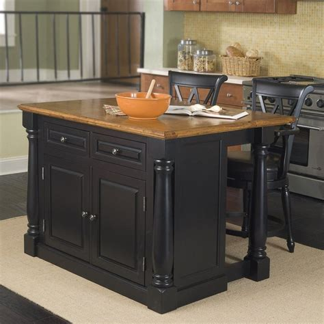 48 kitchen island shop home styles 48 in l x 25 in w x 36 in h black kitchen island with 2 stools at lowes