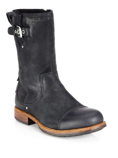 mens sheepskin lined boots ugg kern sheepskin lined boots in black for lyst