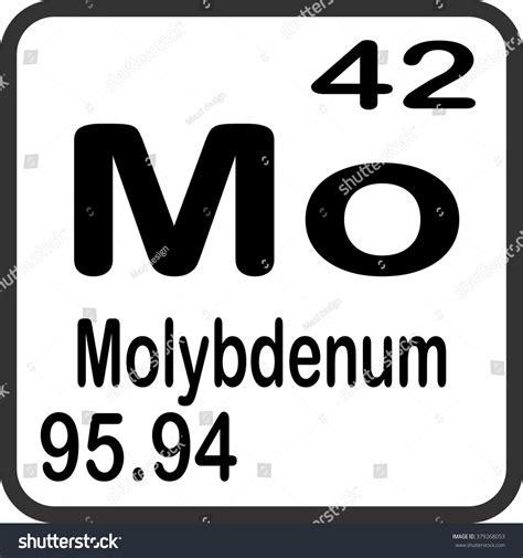 periodic table of elements molybdenum stock vector