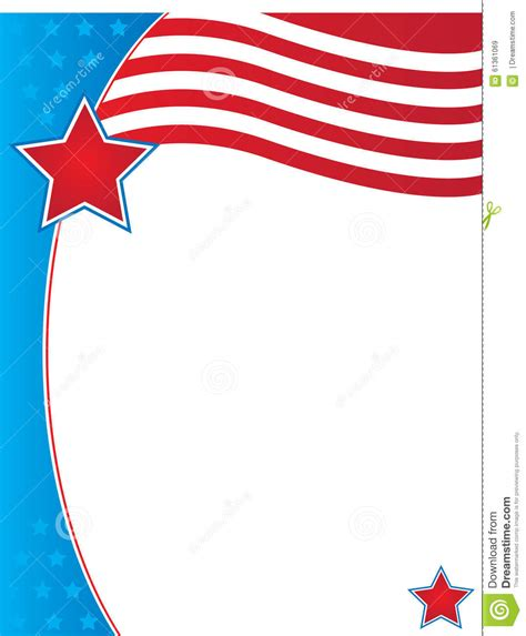 Patriotic Background Border Template Stock Illustration Illustration Of July Presentation Free American Flag Flyer Template