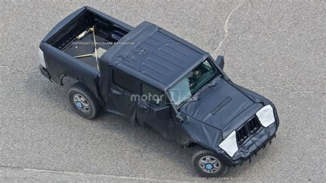 jeep truck spy jeep wrangler pickup spied from a bird s eye view