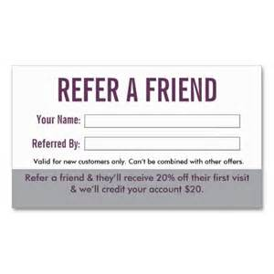 refer a friend business cards salon referral business card by inspyre design refer a friend salon suites