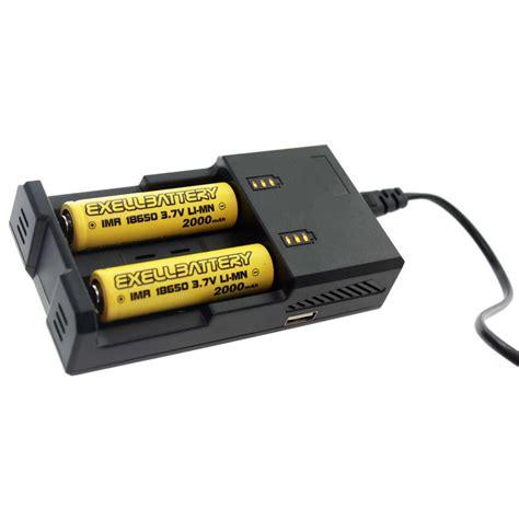 18650 2 Slot Battery Charger 2 pcs 3 7v 2000mah li ion 18650 imr rechargeable battery