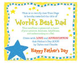world s best dad certificate father s day printable card