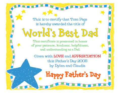s day certificate quot world s best quot s day printable card blue