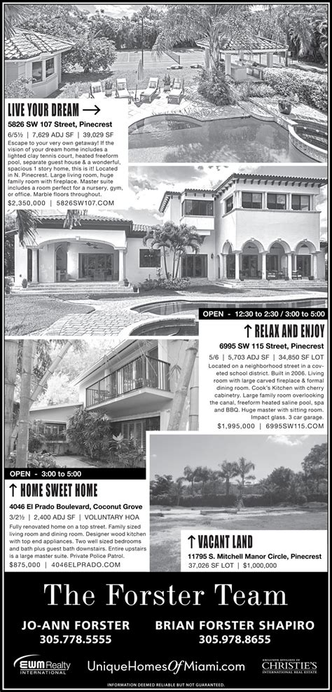 miami herald weekend section open houses the forster team