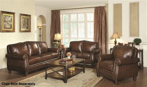 leather couch and loveseat set coaster montbrook 503981 503982 brown leather sofa and