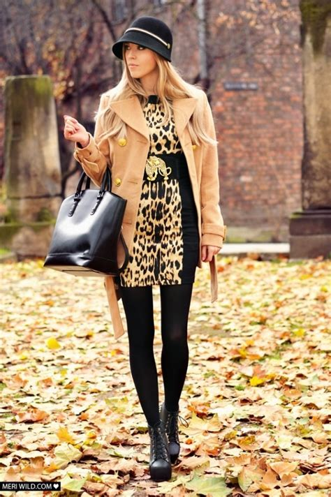 camel coat  leggings leopard print blouse pictures