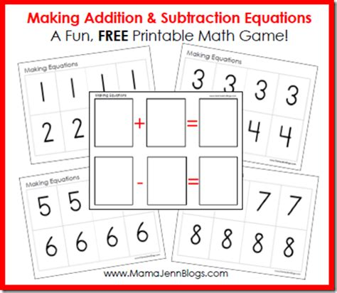 printable games for subtraction making equations addition subtraction math game