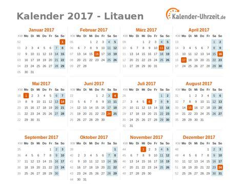 Kalender 2017 Tage Feiertage 2017 Litauen Kalender 220 Bersicht