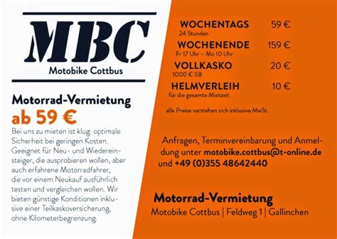 Motorradverleih Cottbus by Motobike Cottbus G 252 Nstiger Geht Motorrad Vermietung Nicht