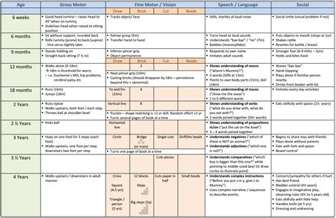 developmental milestones table developmental milestones images