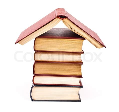 publishing houses pile of books house stock photo colourbox