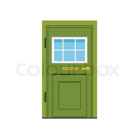 green front door to house closed door vector illustration isolated on a white