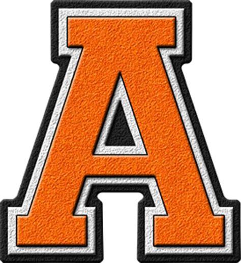 Letter A Presentation Alphabets Orange Varsity Letter A