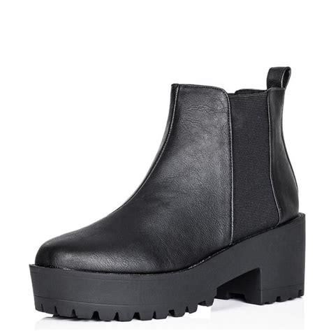 fiona black cleated sole flat boots parisia fashion
