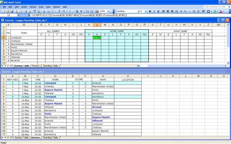 create   soccer league fixtures  table excel