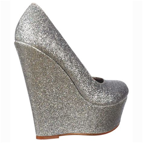 onlineshoe silver glitter wedge platform shoes silver