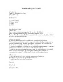 Templates For Letter Of Resignation by Standard Resignation Letter Template Free