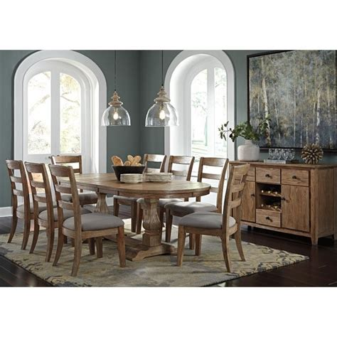 buffet l set danimore 10 oval dining set with buffet in light brown d473 45tb 01x8 60 pkg