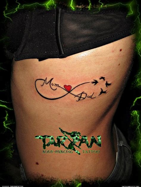 infinity tattoo mom and dad mom dad infinity tattoo on rib side