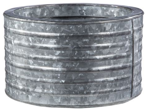 round galvanized steel planter traditional plant pots